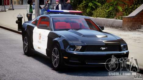 Ford Mustang V6 2010 Police v1.0 para GTA 4 vista de volta