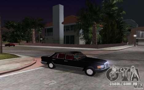 Mercedes-Benz W126 500SE para GTA Vice City vista traseira