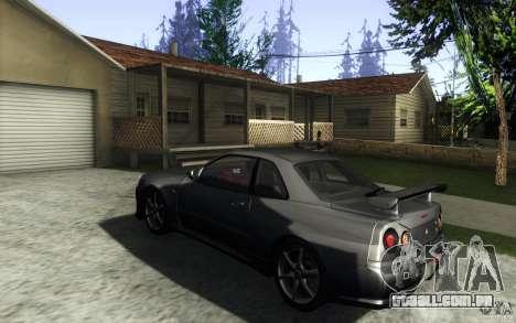 Nissan Skyline GTR R34 VSpecII para GTA San Andreas traseira esquerda vista