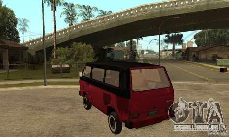 Volkswagen T3 Rusty para GTA San Andreas traseira esquerda vista