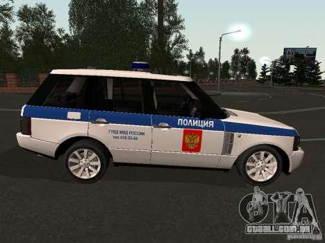 Range Rover Supercharged 2008 polícia departamen para GTA San Andreas vista direita