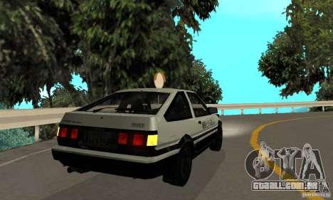 Toyota Sprinter Trueno GT-APEX AE86 83 Initial D para GTA San Andreas vista direita