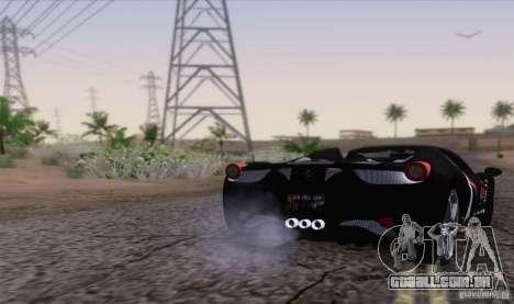 Ferrari F458 para GTA San Andreas traseira esquerda vista