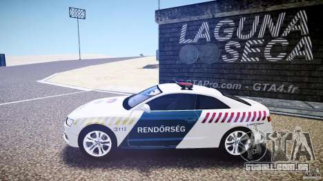Audi S5 Hungarian Police Car white body para GTA 4 esquerda vista