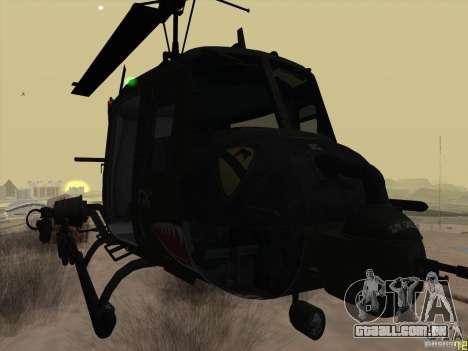 Helicóptero Huey da chamada do dever ops preto para GTA San Andreas vista direita