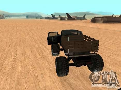 Walton Monster para GTA San Andreas traseira esquerda vista