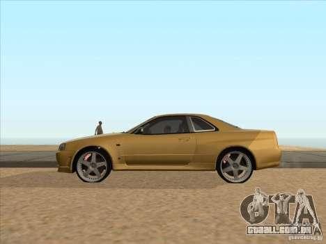 Nissan Skyline R34 VeilSide para GTA San Andreas esquerda vista