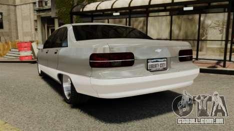 Chevrolet Caprice 1991 para GTA 4 traseira esquerda vista