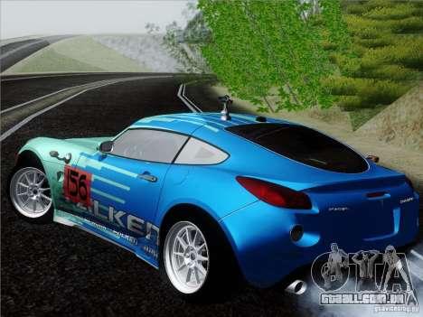 Pontiac Solstice Falken Tire para GTA San Andreas traseira esquerda vista
