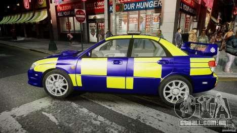 Subaru Impreza WRX Police [ELS] para GTA 4 esquerda vista