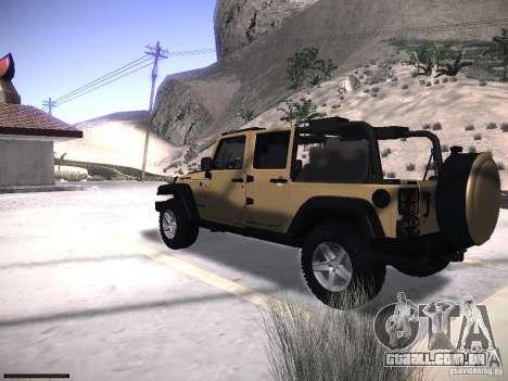 Jeep Wrangler Rubicon Unlimited 2012 para GTA San Andreas esquerda vista