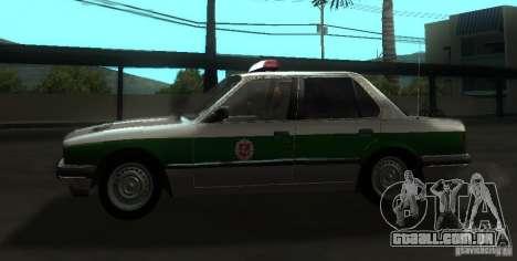 BMW E30 Sedan Police para GTA San Andreas esquerda vista
