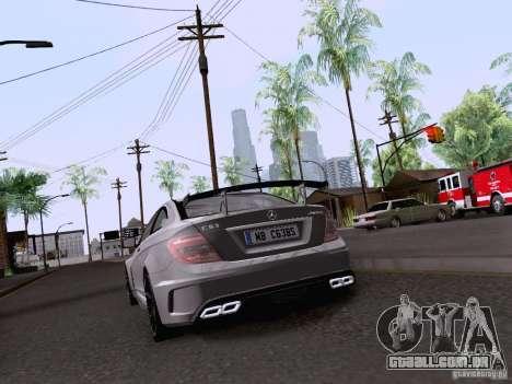 Mercedes-Benz C63 AMG Coupe Black Series para GTA San Andreas vista traseira
