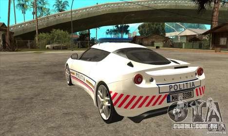 Lotus Evora S Romanian Police Car para GTA San Andreas traseira esquerda vista