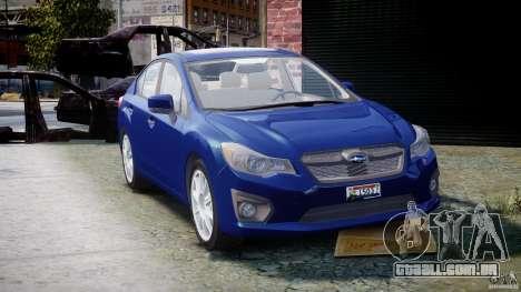 Subaru Impreza Sedan 2012 para GTA 4 vista de volta