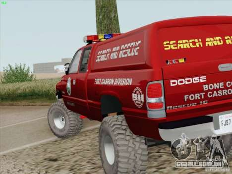 Dodge Ram 3500 Search & Rescue para GTA San Andreas vista superior