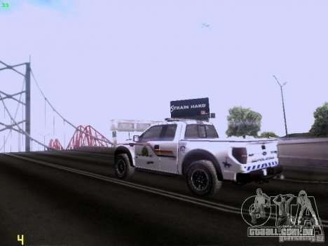 Ford Raptor Royal Canadian Mountain Police para GTA San Andreas vista direita