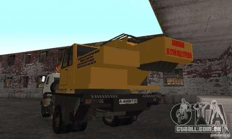 MAZ caminhão guindaste para GTA San Andreas traseira esquerda vista