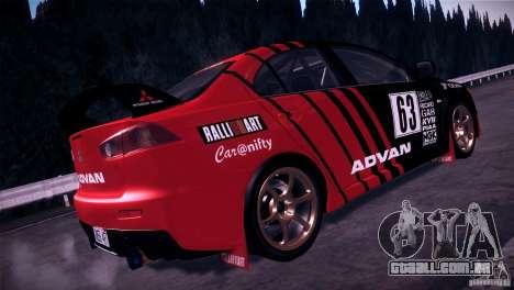 Mitsubishi Lancer Evolution X Tunable para GTA San Andreas vista traseira