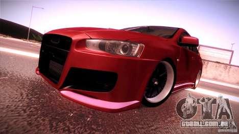 Mitsubishi Lancer Evolution X Tunable para GTA San Andreas traseira esquerda vista