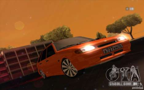 Ваз 2114 suculenta laranja para GTA San Andreas traseira esquerda vista