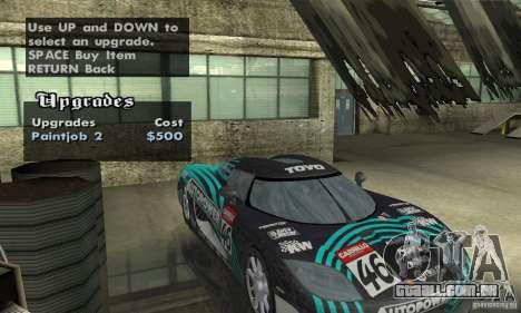 Koenigsegg CCX (v1.0.0) para GTA San Andreas vista interior