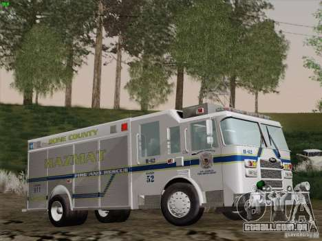 Pierce Fire Rescues. Bone County Hazmat para vista lateral GTA San Andreas