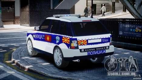 Range Rover Macedonian Police [ELS] para GTA 4 traseira esquerda vista