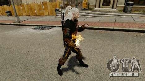 Fogo nas mãos de Geralt para GTA 4