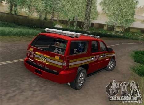 Chevrolet Suburban EMS Supervisor 862 para GTA San Andreas esquerda vista