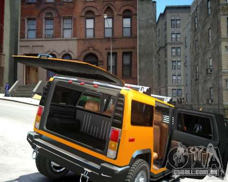 Hummer H2 2010 Limited Edition para GTA 4 vista de volta