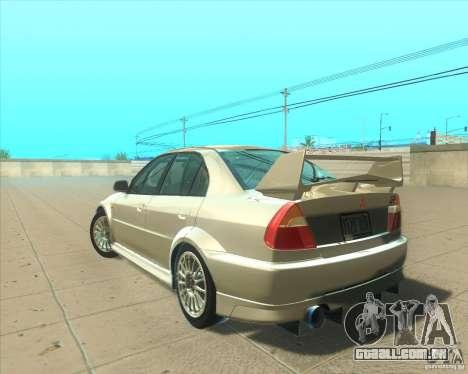 Mitsubishi Lancer Evolution VI 1999 Tunable para o motor de GTA San Andreas
