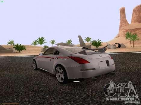 Nissan 350Z Nismo S-Tune para GTA San Andreas traseira esquerda vista