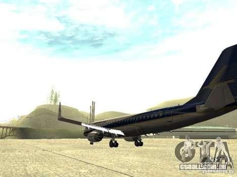 Embraer E-190 para GTA San Andreas traseira esquerda vista