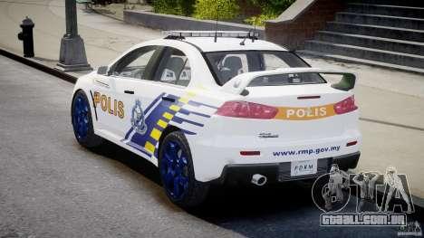 Mitsubishi Evolution X Police Car [ELS] para GTA 4 vista lateral