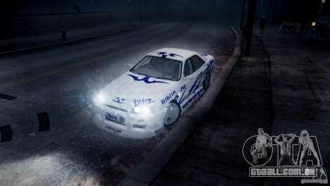 Nissan Skyline R-34 v1.0 para GTA 4 vista lateral