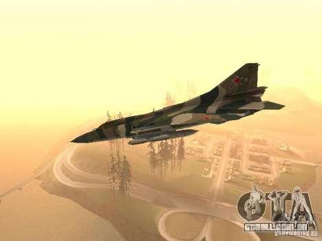 Mikoyan-Gurevich Mig-23 para GTA San Andreas traseira esquerda vista