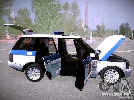 Range Rover Supercharged 2008 polícia departamen para GTA San Andreas vista inferior
