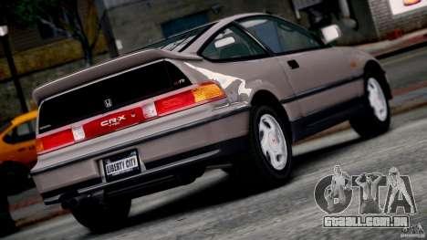 Honda CR-X SiR 1991 para GTA 4 esquerda vista