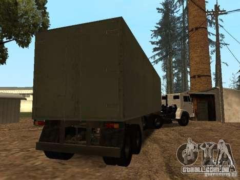 Trailer de Kamaz 5410 para GTA San Andreas vista direita