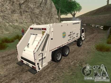 Caminhão de lixo do GTA 4 para GTA San Andreas vista traseira