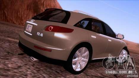 Infiniti FX45 2007 para GTA San Andreas esquerda vista