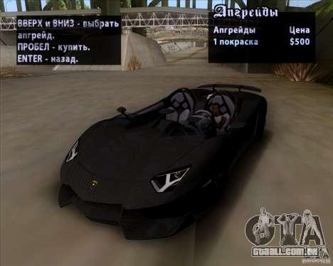 Lamborghini Aventador J TT Black Revel para GTA San Andreas vista interior