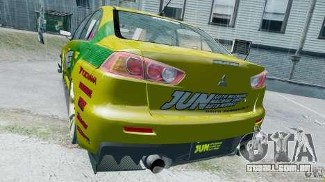 Mitsubishi Lancer X JUN para GTA 4 vista direita
