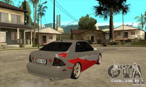 Lexus IS300 Tunable para GTA San Andreas vista direita