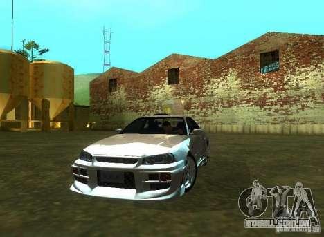 Nissan Skyline GTR-34 para GTA San Andreas vista direita