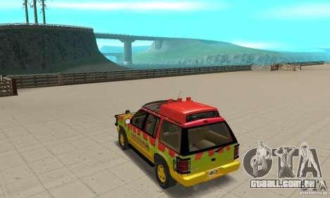 Ford Explorer (Jurassic Park) para GTA San Andreas traseira esquerda vista