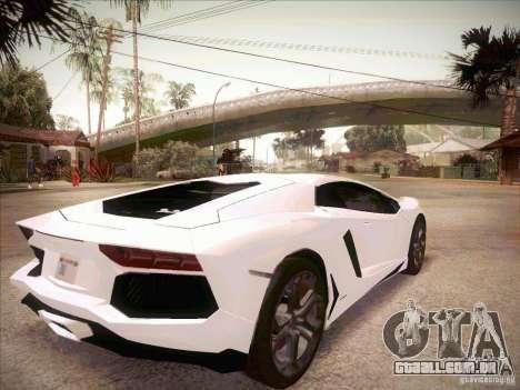 Lamborghini Aventador LP700-4 para GTA San Andreas traseira esquerda vista