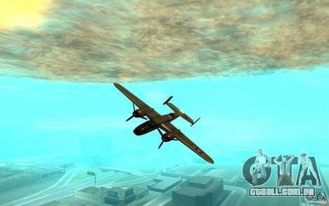 B-25 Mitchell para GTA San Andreas traseira esquerda vista