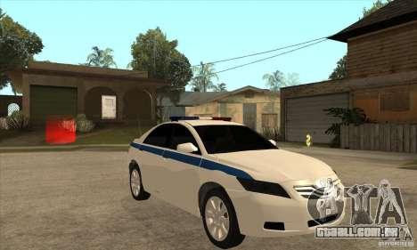 Toyota Camry 2010 SE Police RUS para GTA San Andreas vista traseira